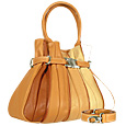 Tulip - Beige to Brown Leather Buckled Strap Tote