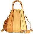 Tulip - Beige to Brown Leather Drawstring Tote