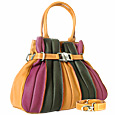 Tulip - Multi-color Leather Buckled Strap Tote