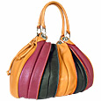Tulip - Multi-color Leather Drawstring Ring Tote