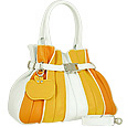 Tulip - Orange & Yellow Leather Buckled Strap Tote