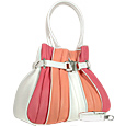 Tulip-Pink and White Leather Buckled Strap Tote