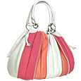 Tulip-Pink and White Leather Drawstring Ring Tote