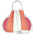 Tulip-Pink and White Leather Drawstring Tote