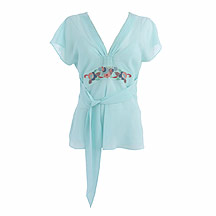 Light blue floral embroidered tunic