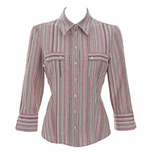 Pink striped cheesecloth shirt