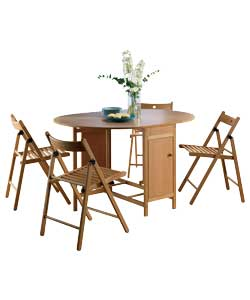 Set Oval Dining Table and 4 Chairs - Oak