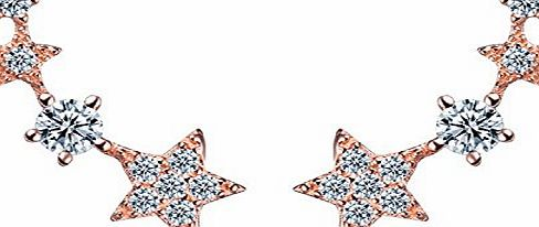 Butterme Womens 925 Sterling Silver Stud Earrings Shooting Stars Design with Sparkling Zircon Diamond (Gold)