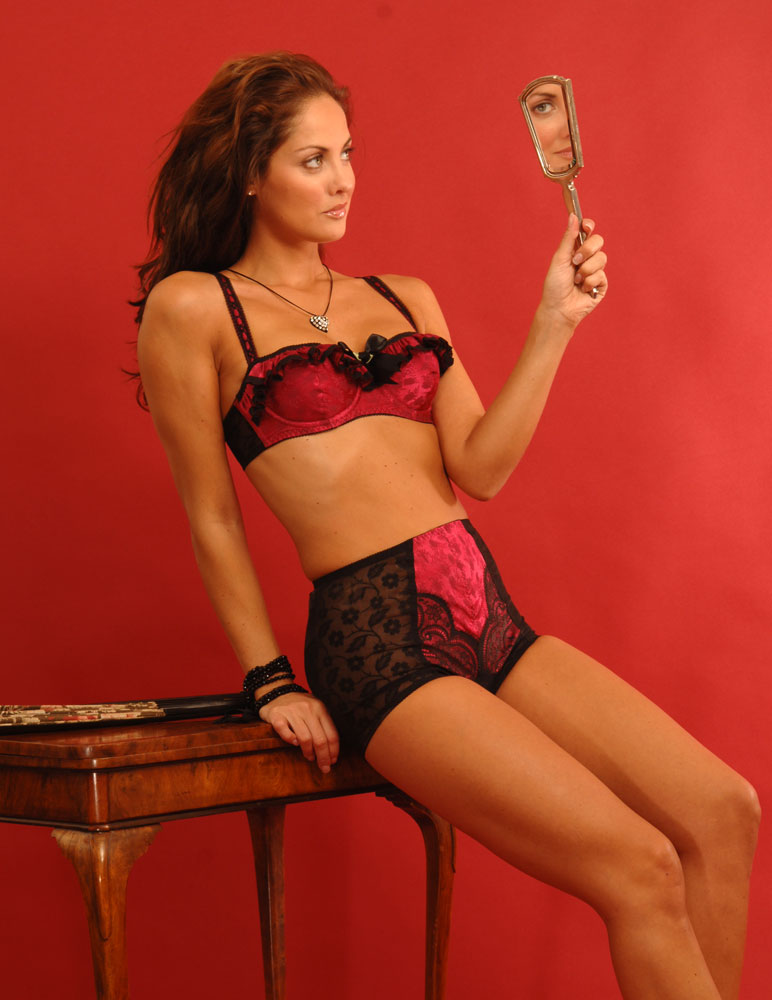 Pink Brocade Frill Front Bra by Buttress and