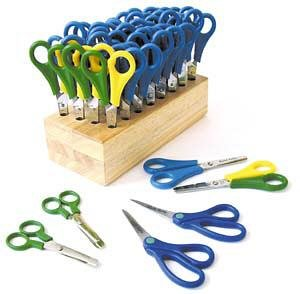 CLASS PACK OF 32 CHILDRENS SCISSORS WITH WOODEN BLOCK 28 R/H AND 4 L/H E44