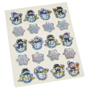 SHEET OF 20 RAISED SNOWMEN GEL STICKERS C11