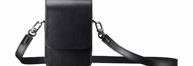 Premium PU Leather Camera Pouch with Shoulder Strap for Samsung Galaxy Camera (GC-100 Digital Camera) - Black