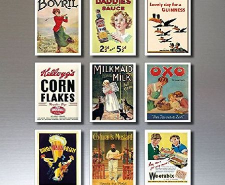 BvdB Design And Print 9 Vintage Retro Advert Poster Fridge Magnets - Shabby, Chic, Art Deco - No.2