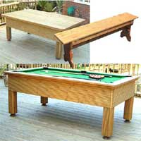 The Evergreen Outdoor Pool Table Set 3 7 x 4 Foot