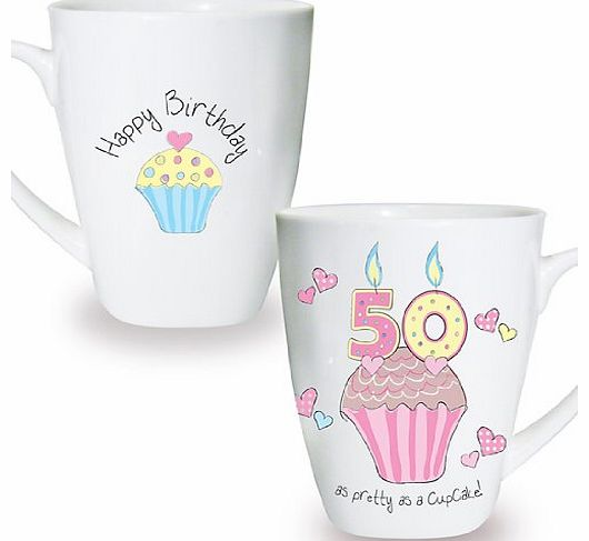 Cupcake Mug Keepsake Novelty Cup Present Gift Coffee Tea 50th Birthday
