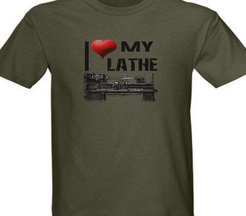CafePress I Heart Love My Lathe Metal Dark T-Shirt by CafePress - L Military Green