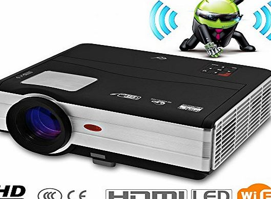 CAIWEI 3000 Lumens Wireless Projection Wifi Multimedia LED LCD Projector Home Cinema Theater for iPhone Laptop Tablets Xbox DVD Movie Video Game Camping with HDMI USB 2 AV VGA TV HD Support 1080p