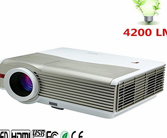 CAIWEI 4200 Lumens WXGA 1280*800 LED LCD Projector Multimedia Portable with HDMI 2 USB 2 VGA AV TV Home Theater Cinema for iPhone Laptop Xbox PC DVD Party Movie Video Games Camping HD Support 1080p