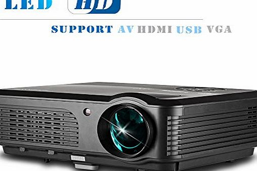 CAIWEI Hdmi Portable 1080p Widescreen LED LCD Projector 4200 Lumens Hd Red Blue 3d Ready for Home Cinema Theater Entertainment, Media Player,Outdoor Activities,Av VGA Usb, Movie Video Games Effect