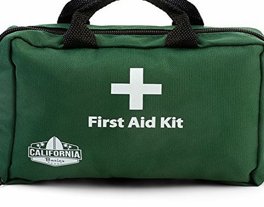 California Basics 115 Piece Professional First Aid Kit, Includes Eye Wash, Cold Pack, Emergency Blanket for Home, Office, Vehicle, Workplace, amp; Travel, Green