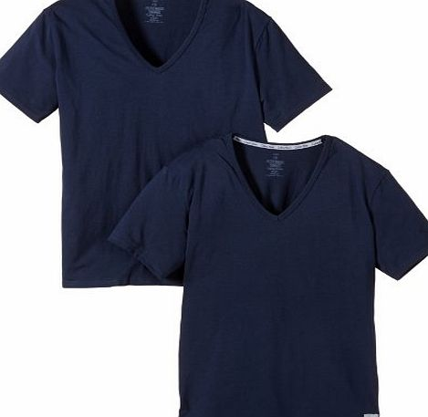 Calvin Klein CK One Short Sleeved V-Neck T-Shirt 2-Pack, Blue Shadow Blue Small