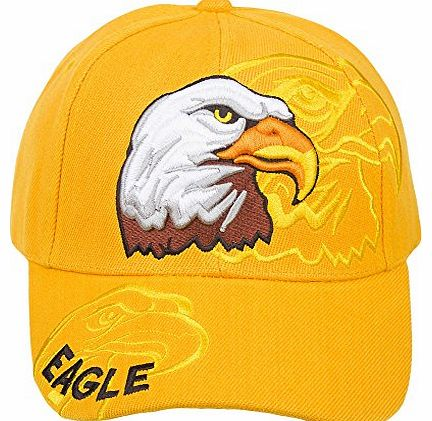 Mens Animal Native American Style Adjustable Baseball Caps - CASUAL WORK LEISURE (Yellow Eagle)