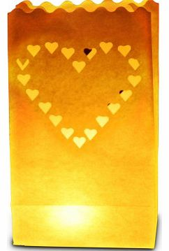 Candle Luminary Bags (Pack of 10) - Large Heart Design