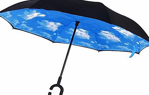 Candora Upside Down Reverse Umbrella, Windproof Outside Folding Double Layer Inverted, Self Standing Inside-Out, C-Shaped Free Hand Handle Blue Sunny Sky Long Inverted Umbrellas