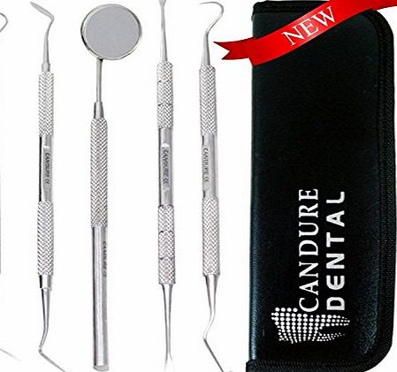 CANDURE - 5 Pieces Dental Scaler Set with leather look case - Tartar Calculus Plaque Remover Tooth Scraper- Dental Mirror amp; Scaler Set