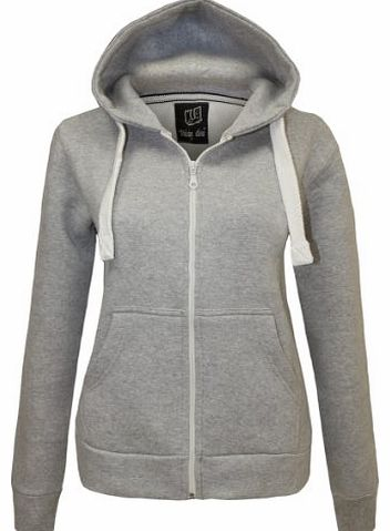 CANDY FLOSS LADIES HOODIE SWEATSHIRT FLEECE JACKET TOP SILVER GREY SIZE 8