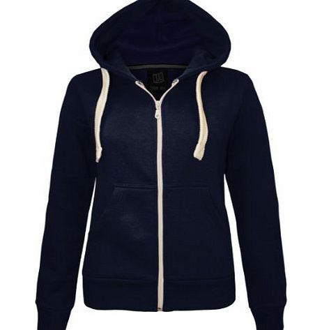 Candy Floss Fashion CANDY FLOSS LADIES PLAIN ZIP HOODED SWEATSHIRT FLEECE JACKET NAVY SIZE 18