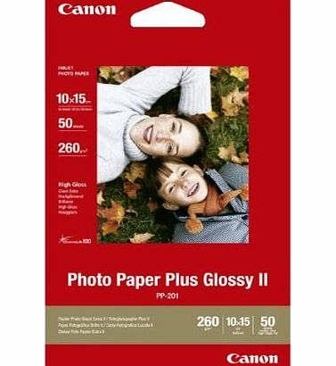 Canon 2311B003 - PP-201 PHOTO PAPER PLUS II - GLOSSY 10X15 50SHTS