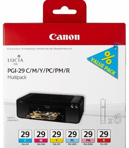 Canon PGI29 Ink Cartridge Multi Pack - Cyan/ Magenta/ Yellow/ Photo Cyan/ Photo Magenta/ Red