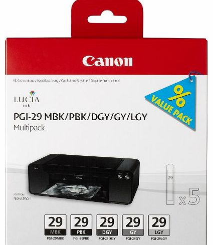 Canon PGI29 Ink Cartridge Multi Pack - Matte Black/ Photo Black/ Dark Grey/ Grey/ Light Grey