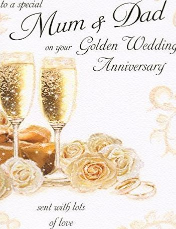 Cards To A Special Mum and Dad On Your 50th Golden Wedding Anniversary Large Greeting Card GR033