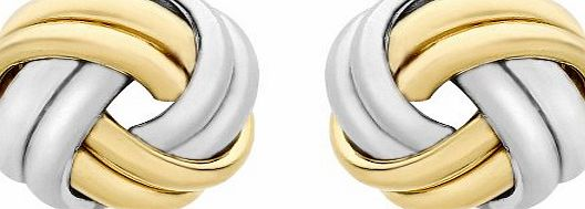 Carissima Gold 9ct 2 Colour Gold 8mm Knot Stud Earrings