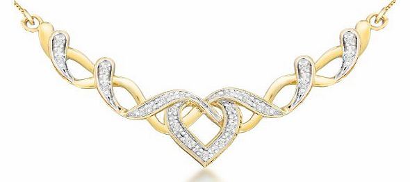 Carissima 9ct Two Colour Gold 0.10ct Diamond Heart Necklace 41cm/16``