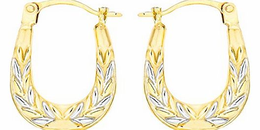 Carissima 9ct Two Colour Gold Patterned Creole Earrings