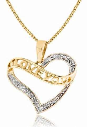 Carissima 9ct Yellow Gold 0.035ct Diamond I Love You Heart Pendant on Chain Necklace 46cm/18``