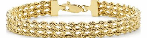 Carissima 9ct Yellow Gold 3 Strand Rope Bracelet 18cm/7``