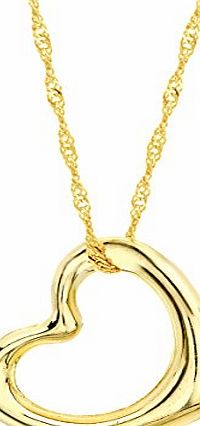 Carissima 9ct Yellow Gold Open Heart Pendant on Twist Curb Chain Necklace 46cm/18``