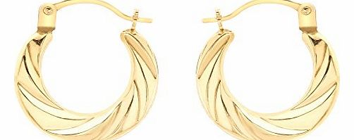Carissima 9ct Yellow Gold Patterned Creole Earrings