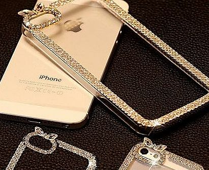 DSB® Luxury Crystal Rhinestone Diamond Bling Transparent Clear Hard Back Case Cover for iPhone 5/5S ( Color : Golden )