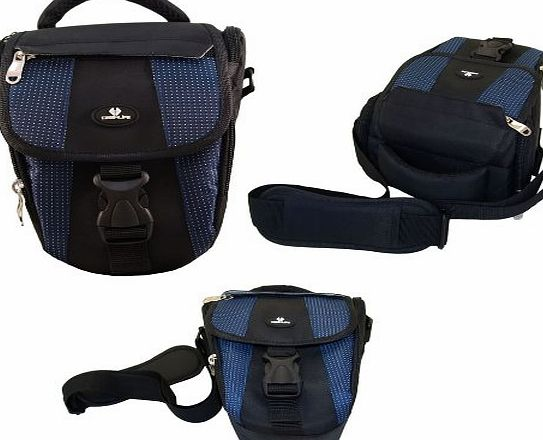 Case4Life Black/Blue Digital SLR Camera Holster Bag Case for Fujifilm Finepix HS, S***, SL, X Series inc S1, SL1000, HS30EXR, HS50, S2980, S4200, S4500, S9200, S9400W, X-S1 - Lifetime warranty
