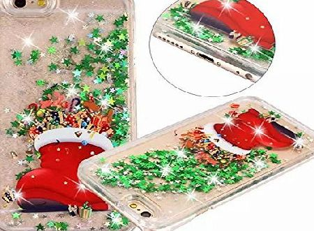 CaseLover iPhone 6 6s Case, Caselover Christmas Liquid Case for iPhone 6 6s, Gradual Color Creative Flowing Floating Back Cover Star Quicksand Star Twinkle Bling Hard PC Durable Waterproof Oilproof Shock-Absorp
