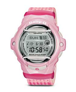 Ladies Baby G Pink Cloth Strap Illuminator Watch