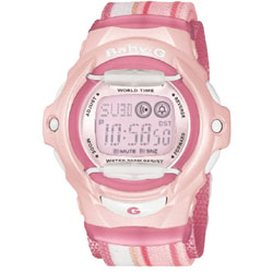 Ladies Baby G Pink Watch Cloth Band Series