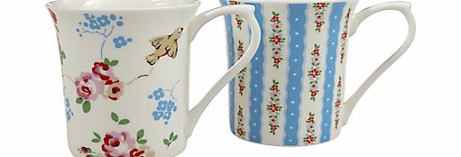 Cath Kidston Bird and Pastel Blue Mugs, Set of 2