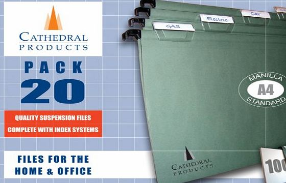 Cathederal Products Pack of 20 A4 Green Manila Suspension Files