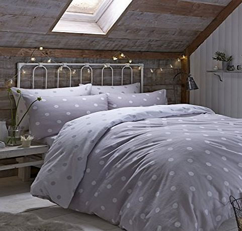 Catherine Lansfield Brushed Polka Double Duvet Set, Natural